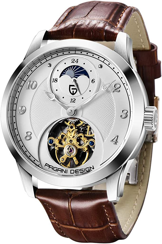 Pagani Design Luxury Brand Men Automatic Watch Genuine Leather Tourbillon Wristwatch Skeleton...