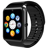 Witmood Bluetooth Smart Watch Phone Pedometer Health Wrist Watch with SIM Card Slot and NFC for Android and IOS Smartphones (Black)