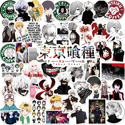 Potota Tokyo Ghoul Stickers|50 Pcak | Vinyl Waterproof Stickers for Laptop,Bumper,Water Bottles,Computer,Phone,Hard hat,Car Stickers and Decals,(Tokyo-50)
