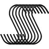 Elokipoe S Hooks, 20 Pack Sturdy Black Coated Steel S Shaped Hook, Heavy Duty S Rack Hooks & Metal Hanger, Finish S…