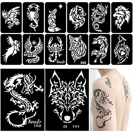 Xmasir 34 Pieces Airbrush Temporary Tattoo Stencils for Men Arm Back Body  Panit Reusable Glitter Tattoo Sticker 2 Large+32 Small Size