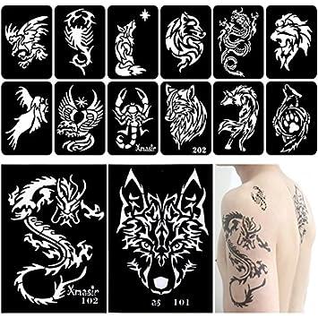 Amazon.com: Xmasir 34 Pieces Airbrush Temporary Tattoo Stencils Kit ...