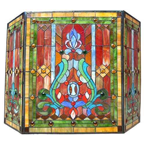 (Chloe CH1F323RV44-GFS 44 in. Lighting Tiffany Stained Glass Folding Victorian Fireplace Screen - 3 Piece)