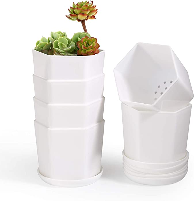 T4U 3.75 Inch Plastic Pot with Saucer White Set of 6, Hexagon Resin Planter Garden Plant Container Indoor Outdoor for Orchid Herb Flower Succulent Cactus Home Office Balcony Decor