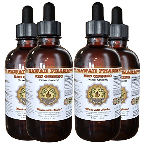 Red Ginseng Liquid Extract, Organic Red Ginseng Panax Ginseng Tincture, Herbal Supplement, Hawaii Pharm, Made in USA, 4×4 fl.oz