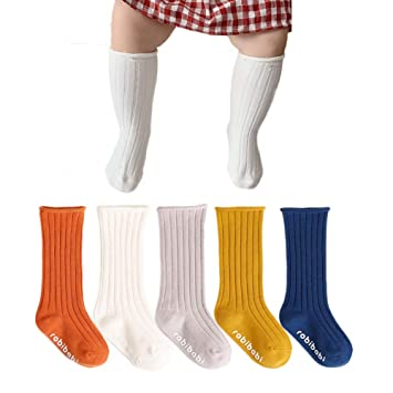 Eanny Baby Girl Boy Cable Knit Knee High Socks Toddler Infant Tube Sockings 12-24 Months 5 Pairs