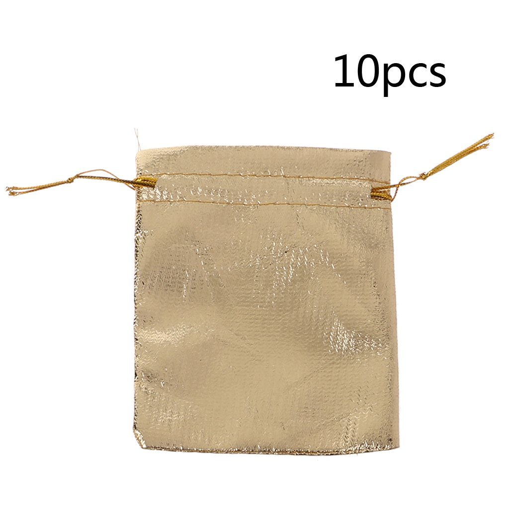 Lamdoo 10PCS Glossy Gold Silver Jewelry Gift Bag Drawstring Candy Pouches Wedding Favor Gold