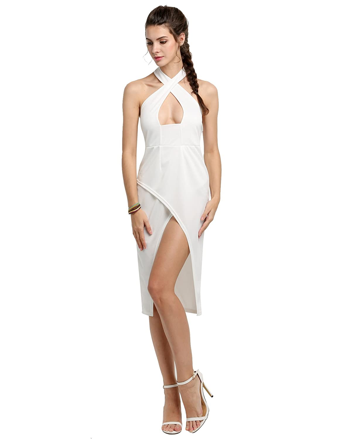 Fanala Womens Sexy Cross Over Strap Bandage Backless Front Slit Bodycon Dress