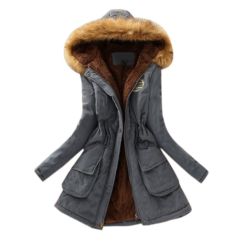 Seaintheson Women's Coats Womens Winter Warm Long Coat Fur Collar Hooded Slim Parka Outwear Jacket
