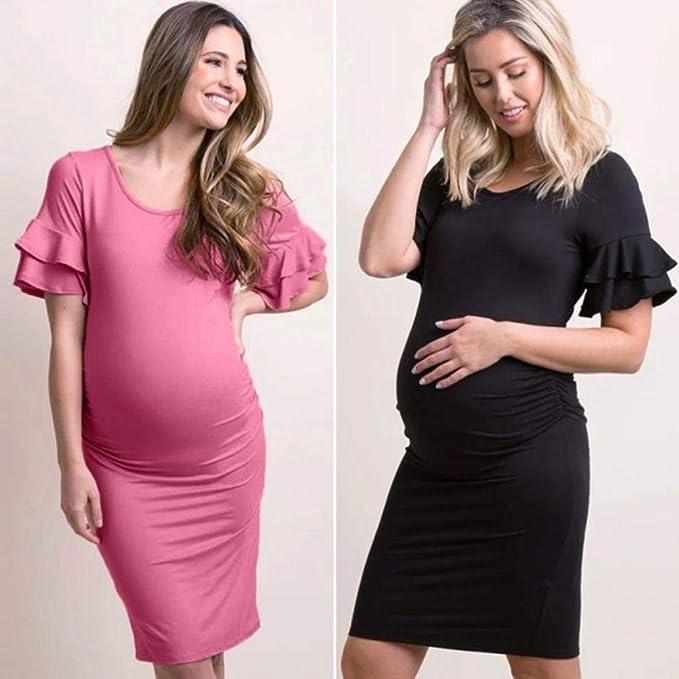 QinMM Vestido Lisos de Mujer Embarazo Premamá, Fiesta Boda Noche ...