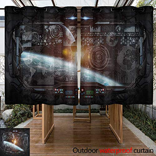 (Custom Outdoor Curtain Outer Space Control Panel of Cockpit Screen in The Spaceflight Androids World Stardust Room Darkening, Noise Reducing 84