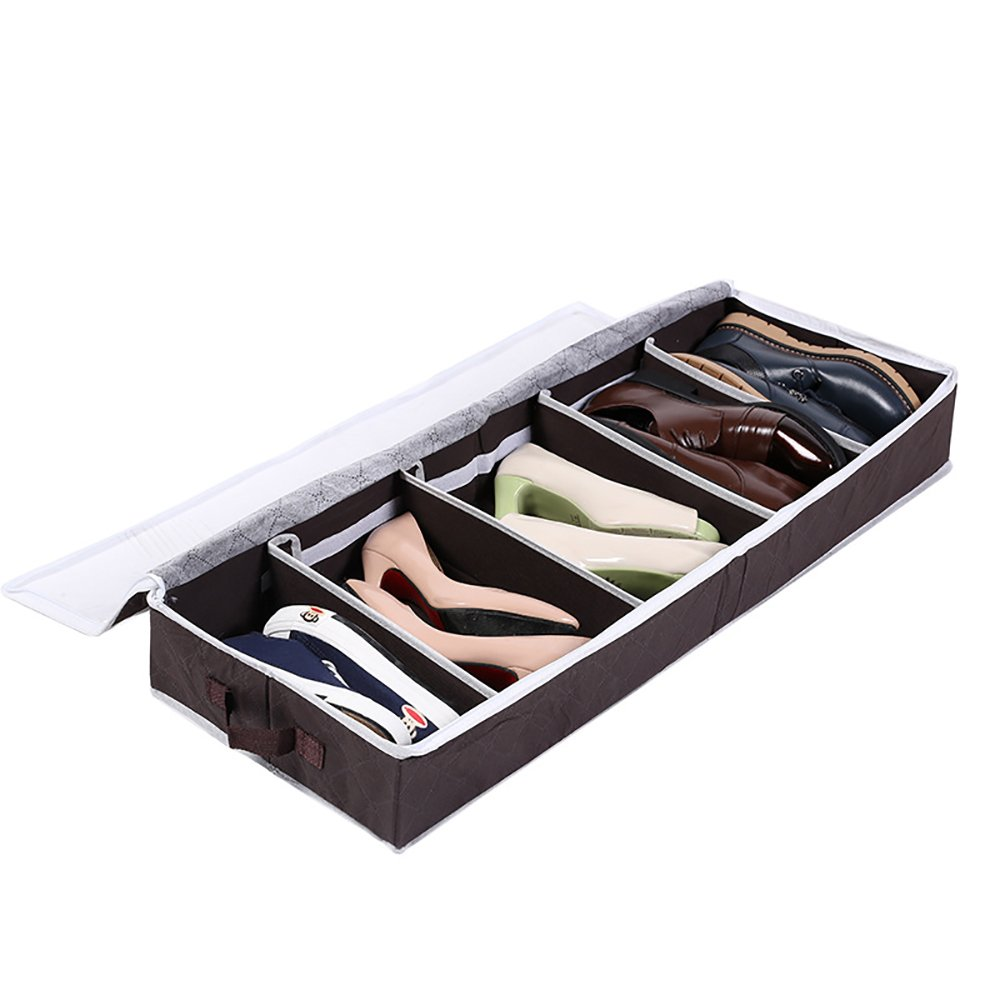 Shoe Storage Box Organizer with Visible Window, Bamboo Fiber Fabric Hanging or Under-Bed Shoes Storage Box,5 Cells Sodear-LifE