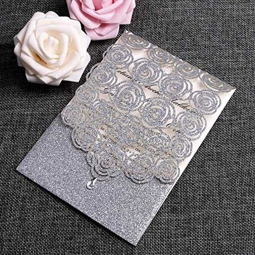 FEIYI 25PCS Laser Cut Invitations Cards Luxury Diamond Gloss Design with Pearl Paper Insert for Wedding, Bridal Shower, Engagement Birthday Graduation Invite (Silver Glitter)
