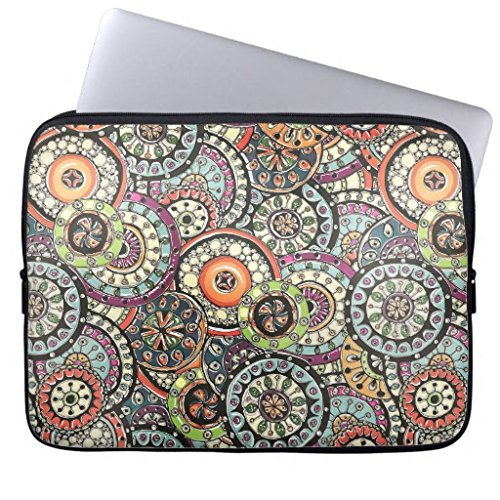 Gifts for Girls 10-10.8 Inch Laptop Sleeve Cute Bright Colors Retro Circles Floral Pattern Computer Sleeve Waterproof Neoprene Sleeve Case Bag Notebook Computer Case Briefcase Carrying Bag Two (Bright Side Bag)