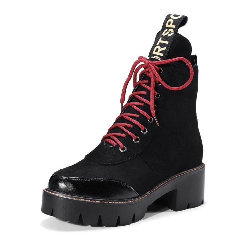 Damen Kurze Martin Stiefel Stiefel Stiefel Neue Mode Dicker Boden Erhöhen Warm halten Schnüren Wasserdicht Künstliche PU Schwarz Braun Herbst Winter Arbeiten im Freien 1f7f93