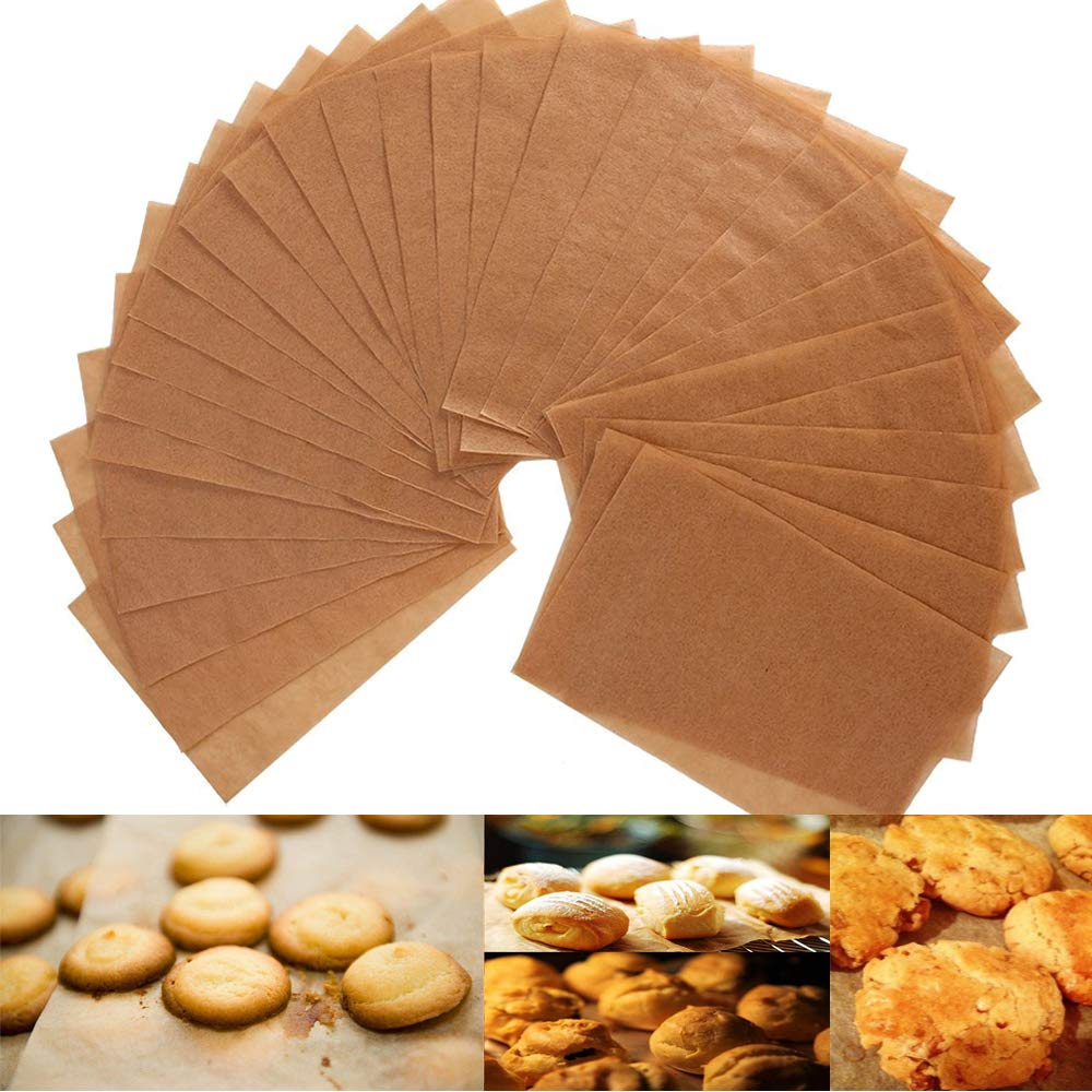 Unbleached Parchment Paper Cookie Baking Sheets - 12 x 16'' Exact Fit For Your Half Sheet Pans - Non-Stick - Oven Safe - will Not Curl & Burn -100 Sheets In A Storage Box by Alago