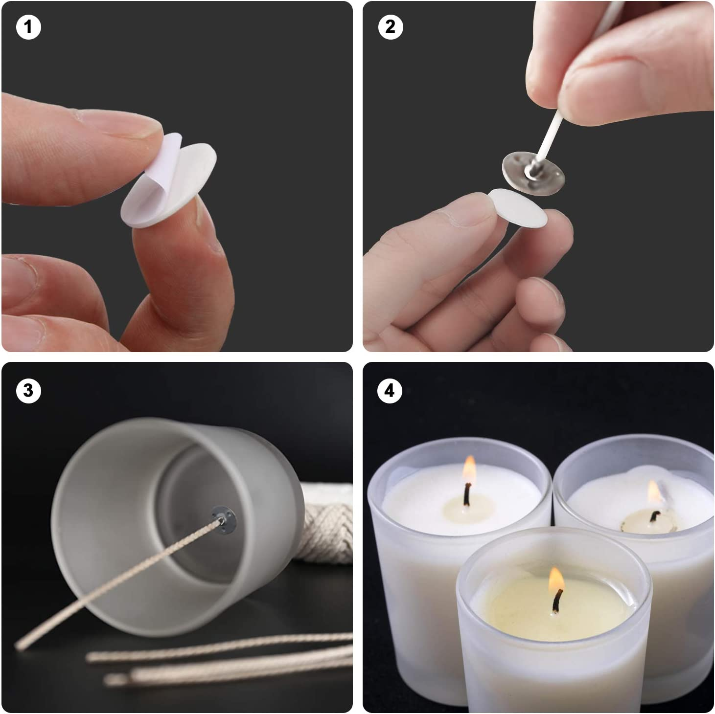160pcs Candle Wick Stickers Heat Resistance Candle Making Double-Sided Stickers