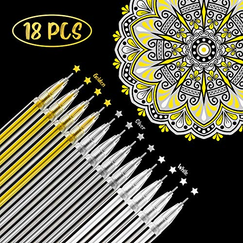 18 Pieces White Gold Silver Gel Ink Pens Highlight Drawing Art Design Supplies 0.5 mm Pens for Black Paper Drawing Sketching Illustration Journaling Wedding Invitations and Adult Coloring Book