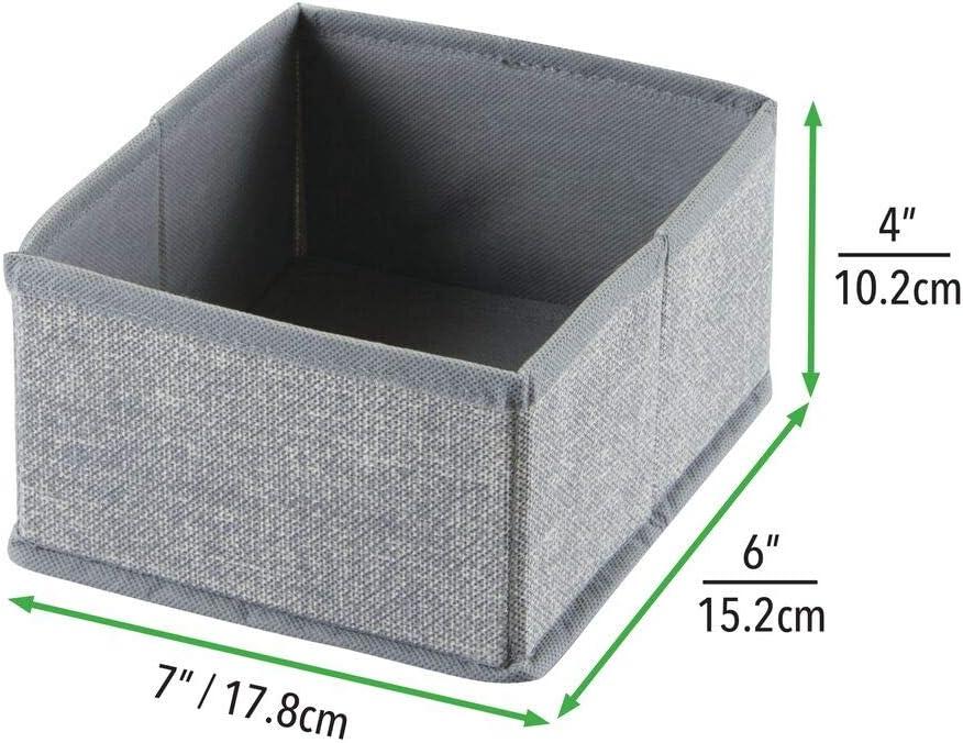 Socks Leggings Gray Bras Small Tights Pack of 6 mDesign Fabric Dresser Drawer Storage Organizer for Underwear