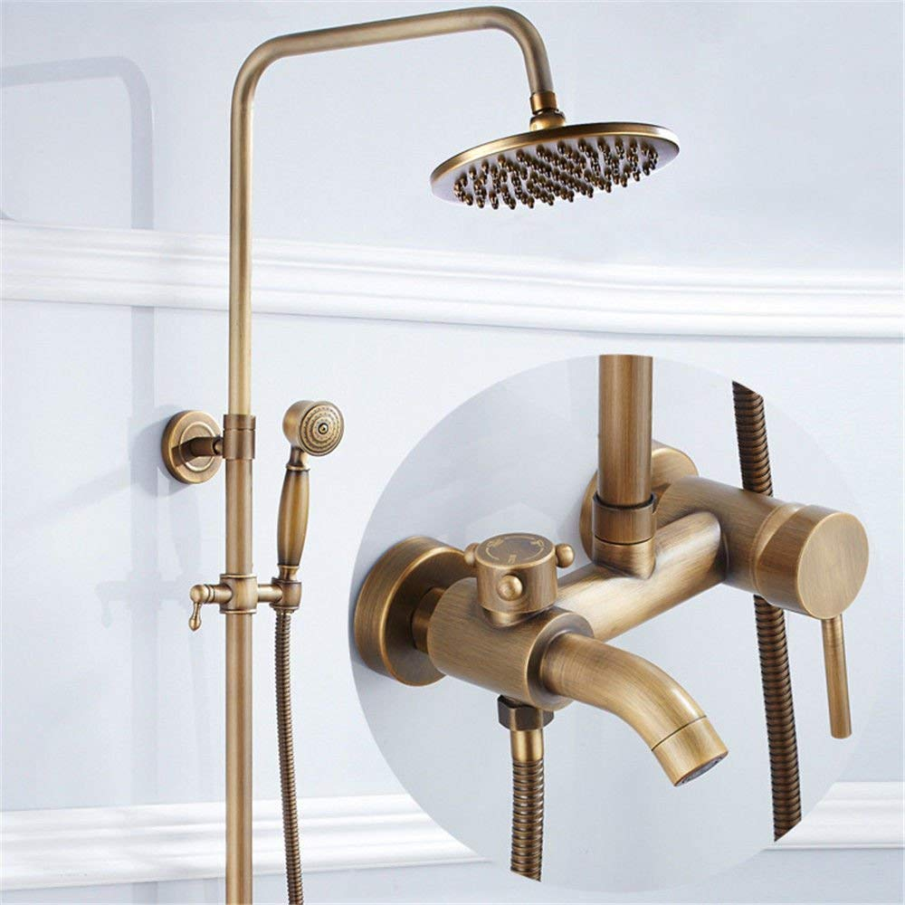 MARCU HOME Sink Mixer Tap Bathroom Kitchen Basin Tap Leakproof Save Water Copper Antique Shower Kit Ceramic Base Wall Mounted Shower Head Handheld Shower