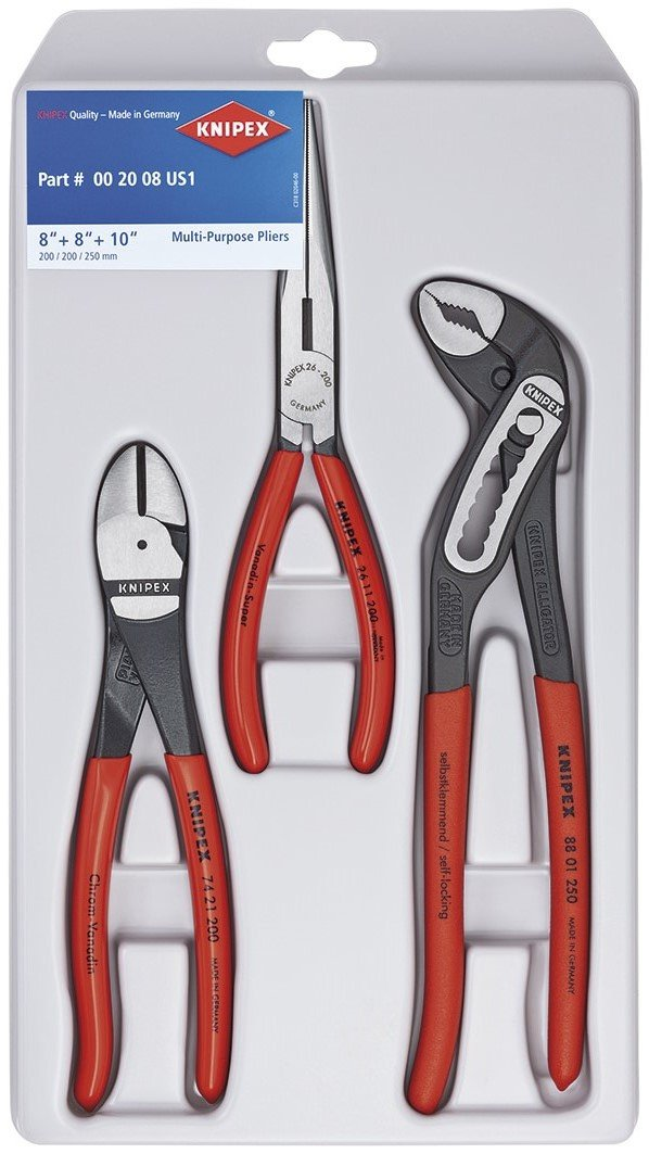 Knipex Tools 00 20 08 US1 Long Nose, Diagonal Cutter, and Alligator Pliers 3-Piece Tool Set by KNIPEX Tools