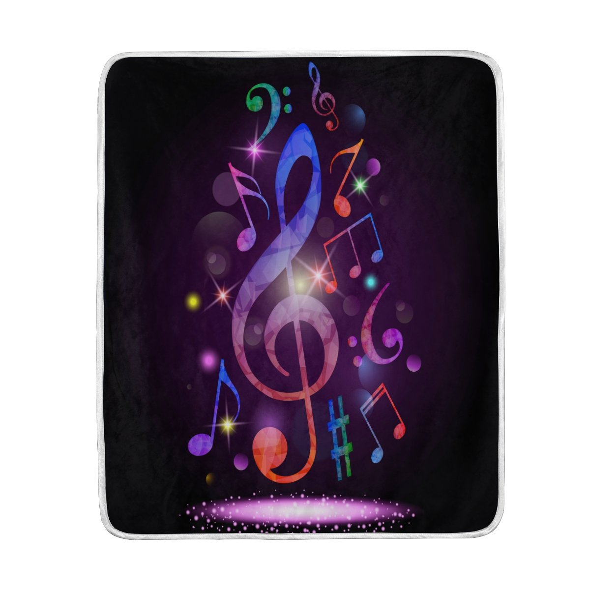 ALAZA Home Decor Colorful Music Note Blanket Soft Warm Blankets for Bed Couch Sofa Lightweight Travelling Camping 60 x 50 Inch Throw Size for Kids Boys Women