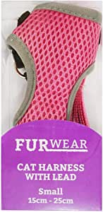 Furwear Cat Mesh Harness with Lead, Small, Pink