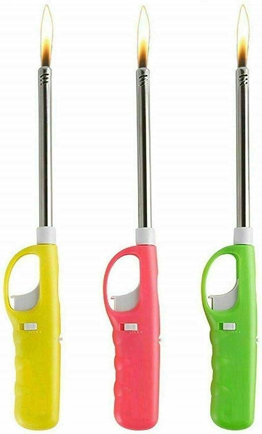 Mr. Gadget Solution® Encendedores de cocina de plástico rellenables – Saftey encendedor de gas con sistema de bloqueo