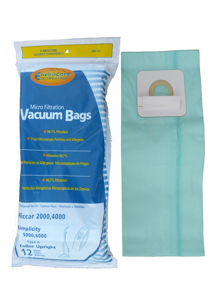 Riccar 2000, 4000 and Simplicity 5000, 6000 Type A Vacuum Bags Microfiltration with Closure - 6 Pack RICCAR GENUINE 845