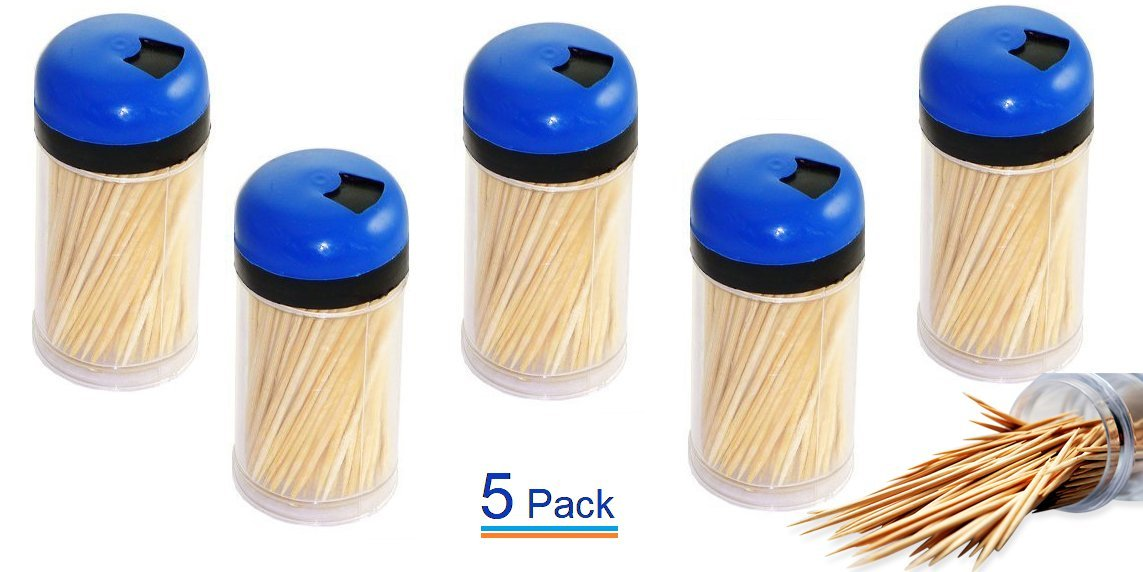 UrbHome Round Wood Toothpicks, Pack of 5 of 150pc each (Assorted Colors) 4575