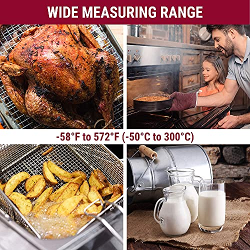ThermoPro TP03 Digital Instant Read Meat Thermometer Kitchen Cooking Food Candy Thermometer with Backlight and Magnet for Oil Deep Fry BBQ Grill Smoker Thermometer