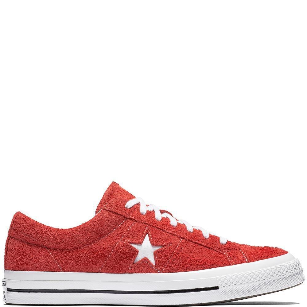 Converse Unisex-Erwachsene Lifestyle One Star OX Suede Fitnessschuhe, Schwarz  37 EU|Rot (Red/White/White 600)