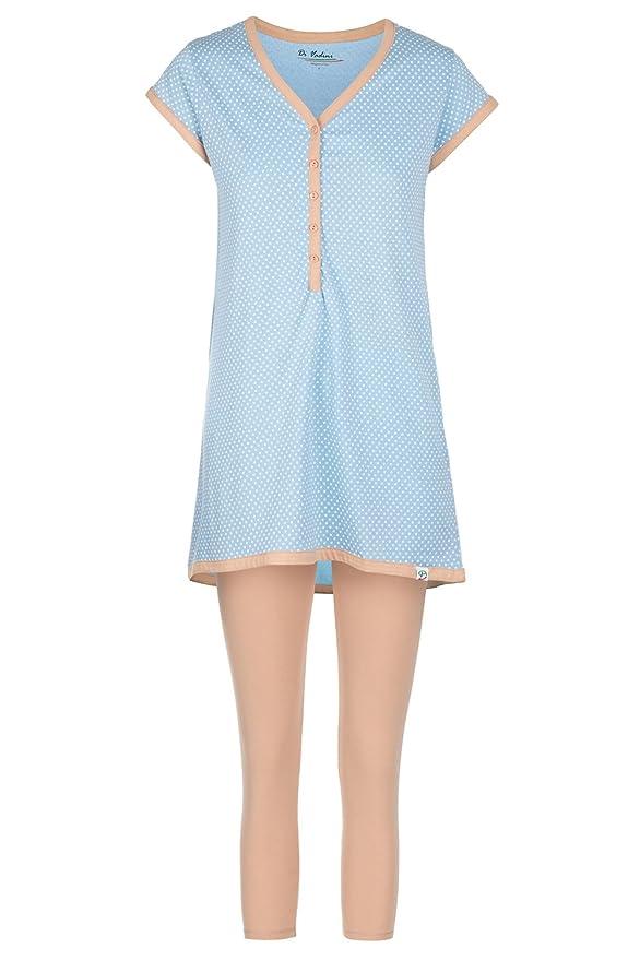 Di Vadini Elena - Pijama de lactancia, de algodón 100%, de Manga Corta