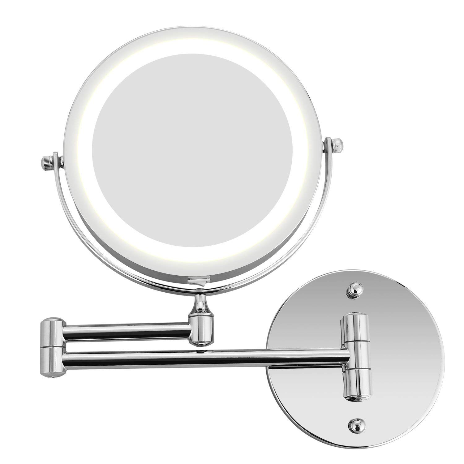 Bazal Makeup Mirror Wall Mount 5X Magnifying Mirror LED Lighted Cosmetic Vanity Mirror for Bathroom Two Sided Face Mirror, Powered by 4 x AAA Batteries (not Included)