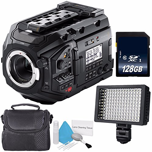 Blackmagic Design URSA Mini Pro 4.6K Digital Cinema Camera #CINEURSAMUPRO46K + 128GB SDXC Class 10 Memory Card + Deluxe Cleaning Kit + Professional 160 LED Video Light Studio Series Bundle