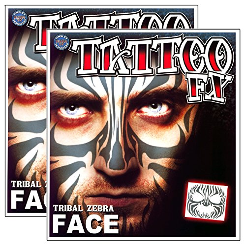 Tribal Zebra Temporary Face Tattoo Makeup Kit - Set of 2 Complete Kits -