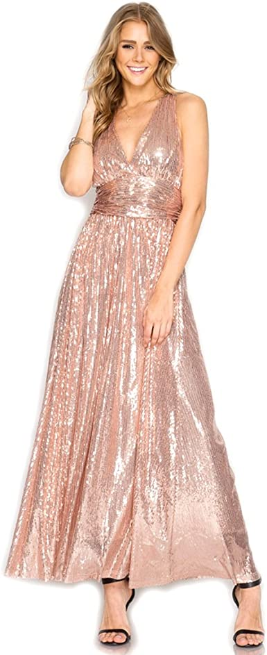 Amazon Com She Sky Rose Gold Sequin Low Cut V Neck Maxi Dress With Crisscross Open Back Large Clothing