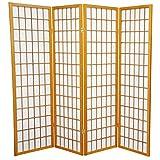 Oriental Furniture 5 ft. Tall Window Pane Shoji Screen - Honey - 4 Panels