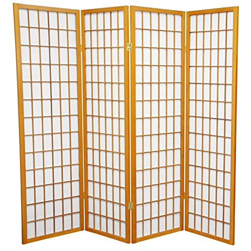 Oriental Furniture 5 ft. Tall Window Pane Shoji Screen - Honey - 4 Panels by ORIENTAL FURNITURE