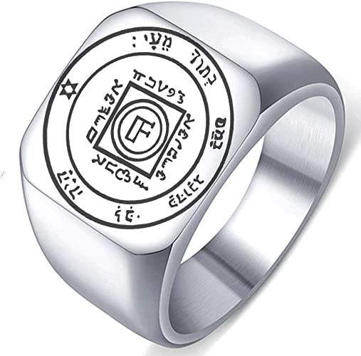 Detailed Engraved Fifth Pentacle of Venus for Love Mens Womens Stainless Steel Polished Talisman Ring