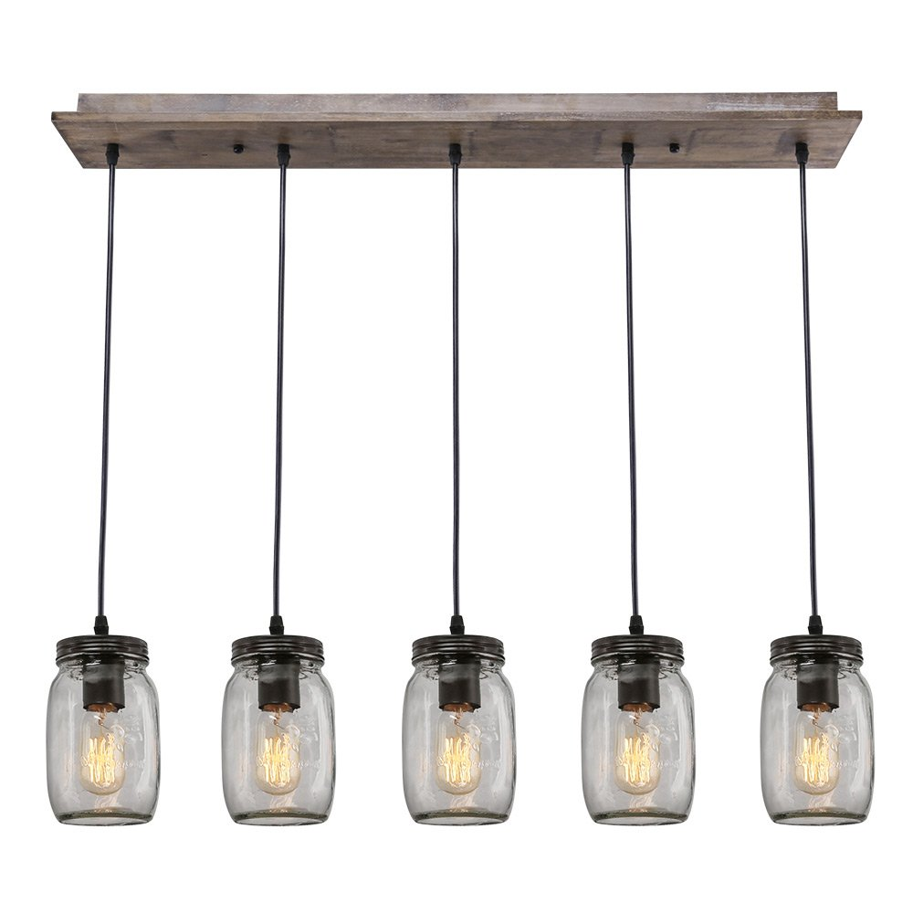 LNC Wood Pendant Lighting 5 Light Glass Mason Jar Ceiling Lights Linear Chandelier  Lighting     Amazon.com