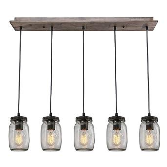 lnc wood pendant lighting 5light glass mason jar ceiling lights linear chandelier lighting