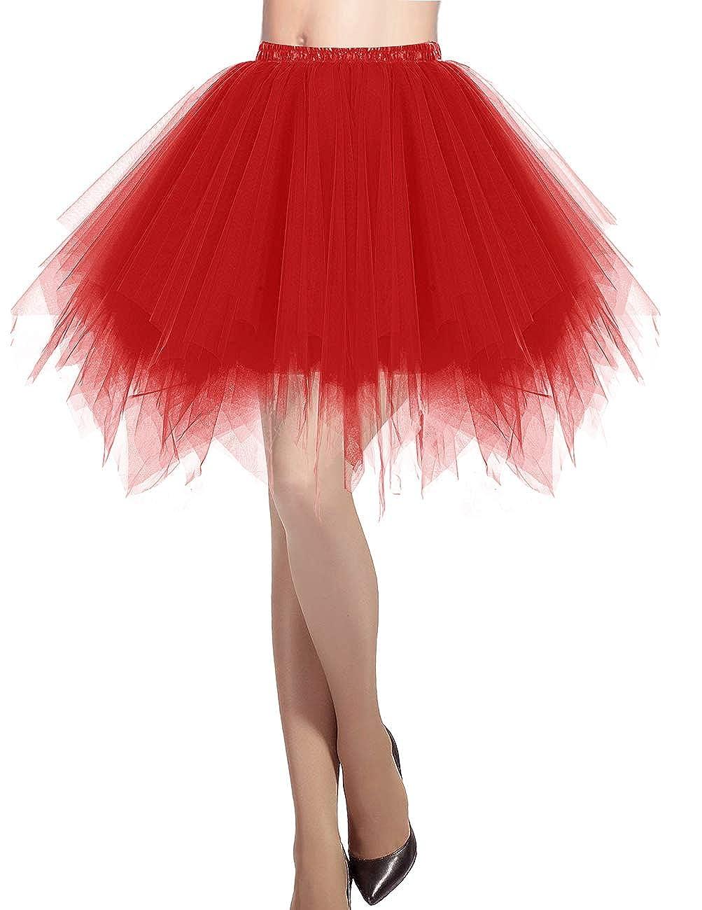 TALLA M. Dresstells Mujeres Fladas Enaguas Cortas Tul Plisada Fiesta Vintage Retro Ballet