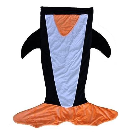 nagu Crystal pingüino de dibujos de cachemira manta saco de dormir para niño edad 3 –