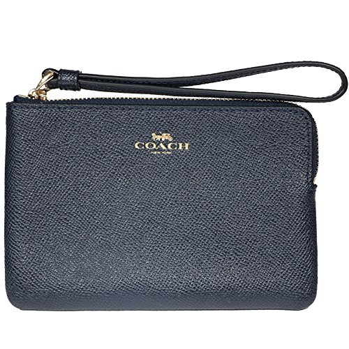 Coach Crossgrain Leather Corner Zip Wristlet, Navy