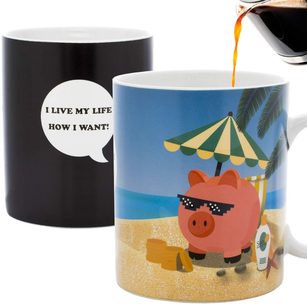 InGwest Home - New Year Pig Coffee Mug. Pig on the Beach Mug! Changing Color Mug. Heat Sensitive Mug.