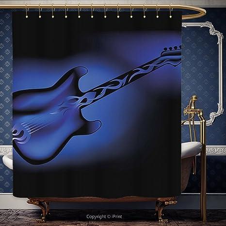 iPRINT 72 x 72 pulgada cortina de ducha música guitarra eléctrica Bass en tonos oscuros diseño de Rock and Roll Pop Oldies instrumento diseño azul marino ...