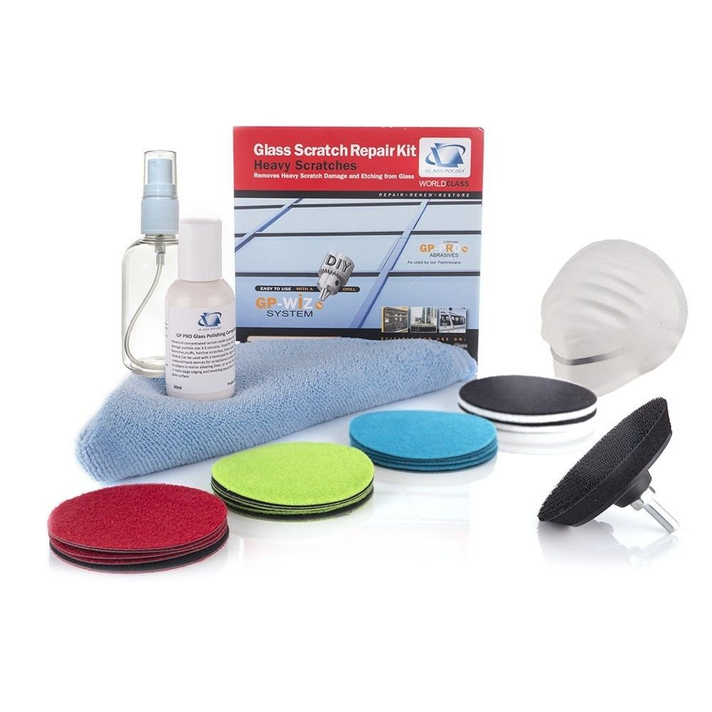 GP28003 Glass Scratch Repair DIY kit, GP-WIZ System, Removes Scratches, Water Damage, Gratify Etching, Surface Marks / For any Type of Glass / Discs Diameter 3 inch   by Glass Polish (Image #1)