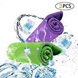 Cooling Towel 2PCS, Cooling Scarf for Instant Cooling Headband Wristband Bandana with Soft Cool Bamboo Fiber for Sports,Gym & Yoga,Tennis, Gym, Hiking & Running with Plastic Bag - Green&Purple