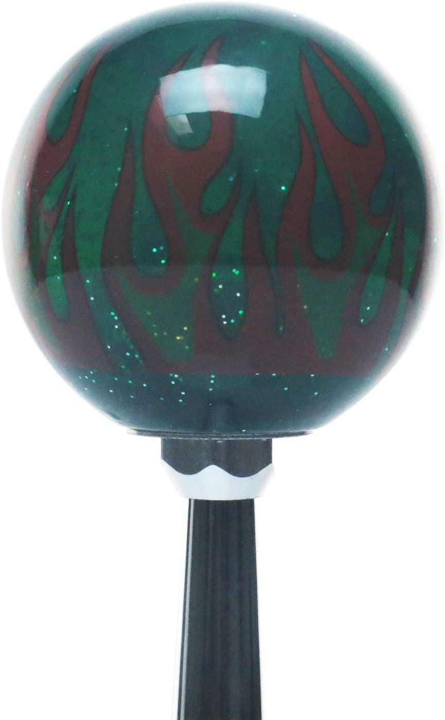 American Shifter 262520 Green Flame Metal Flake Shift Knob with M16 x 1.5 Insert Yellow Newspaper Guy